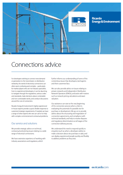 Connections advice capability statement